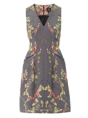 Puppytooth and floral-jacquard dress