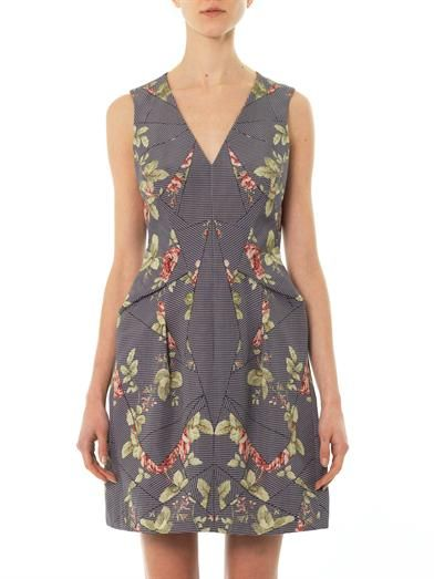 McQ Alexander McQueen Puppytooth and floral-jacquard dress