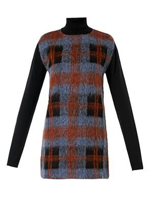 Check wool-blend knitted dress