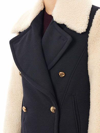McQ Alexander McQueen Shearling sleeve pea coat