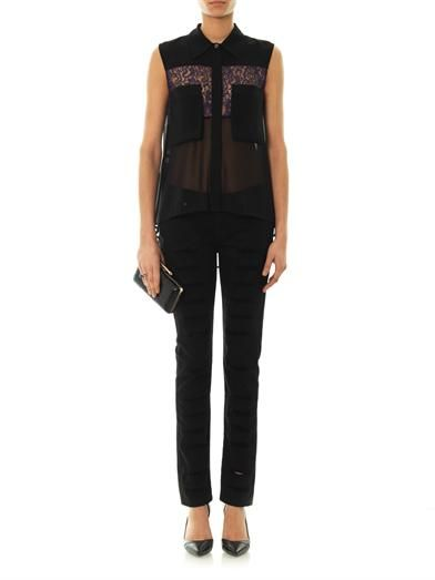 McQ Alexander McQueen Crepe and lace top