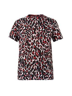 Leopard-print silk and cotton T-shirt