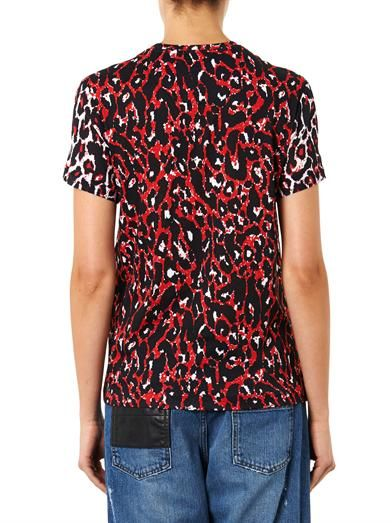 McQ Alexander McQueen Leopard-print silk and cotton T-shirt