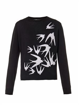 Swallow intarsia-knit sweater