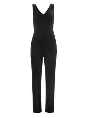 Wool V-neck tailored jumpsuit