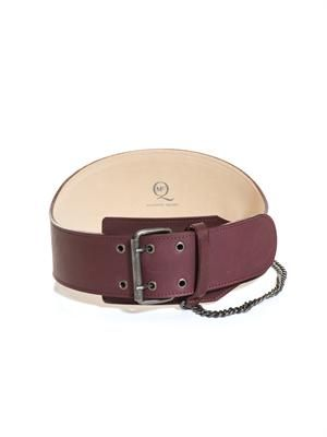 Biker chain wide leather waist belt