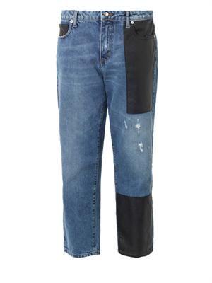 Patch low-slung boyfriend jeans