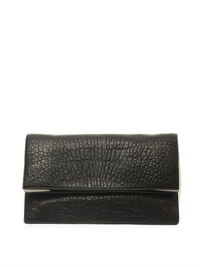 McQ Alexander McQueen Fold-over grained-leather clutch