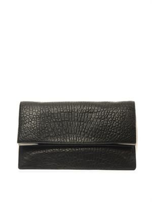 Fold-over grained-leather clutch