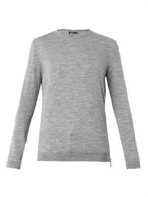 Side-zip wool sweater