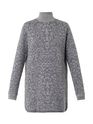 Oversized leopard-jacquard sweater