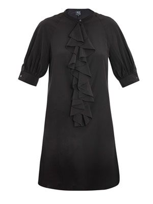 Ruffle-front shirt dress