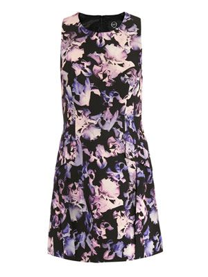 Floating iris-print fitted dress