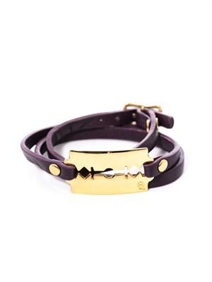 Razor blade leather wrap bracelet