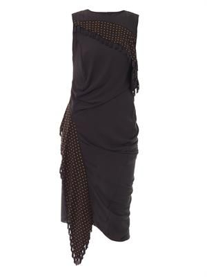 Trapped scarf asymmetric dress