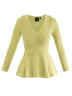 V-neck peplum sweater