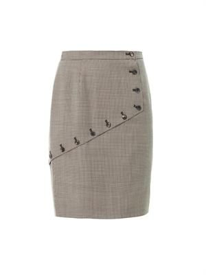 Houndstooth asymmetric panel skirt