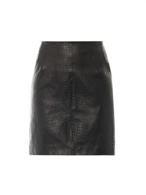 Textured leather skirt