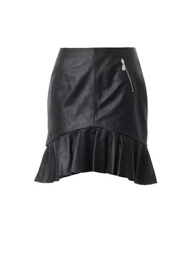 McQ Alexander McQueen Frill-hem leather skirt