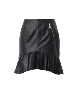Frill-hem leather skirt