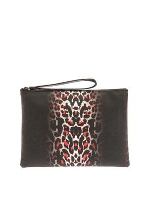 Pixel leopard-print leather clutch