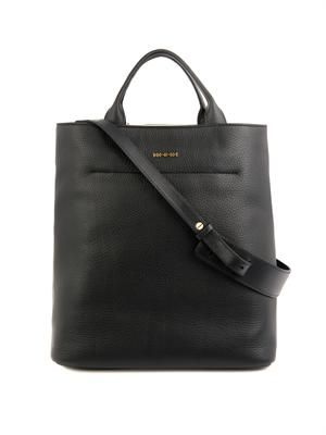 Grained leather tote