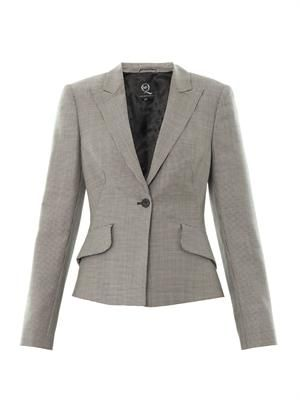 Bustle-back houndstooth jacket