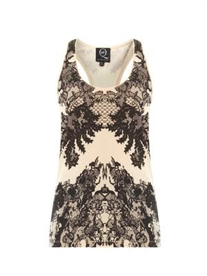 Lace-print cotton tank