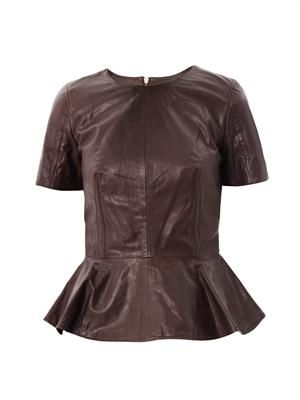 Peplum leather top