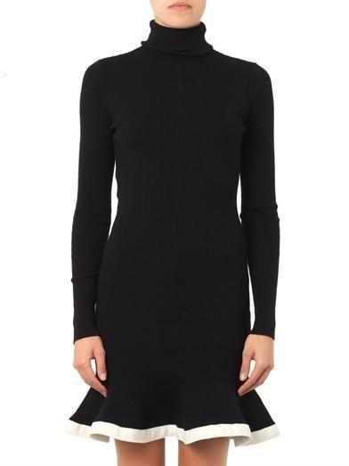 McQ Alexander McQueen Contrast-trim peplum ribbed dress