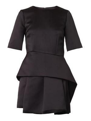 Sculpted peplum satin dress