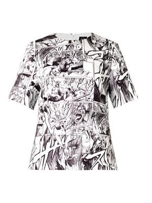 Manga-print duchess-satin top