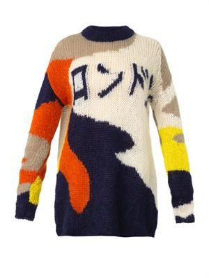 Japanese writing mohair-blend sweater