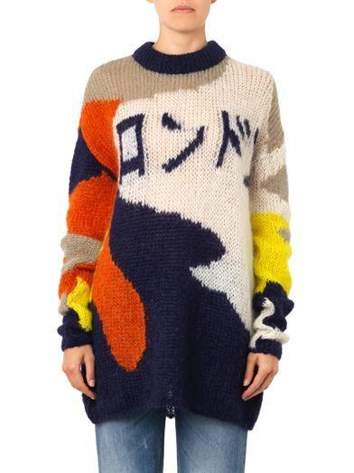 McQ Alexander McQueen Japanese writing mohair-blend sweater