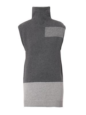 Tonal patchwork roll-neck sweater