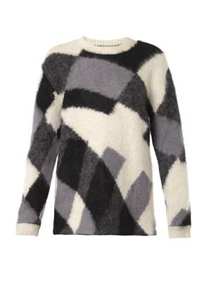 Patchwork-knit mohair-blend sweater