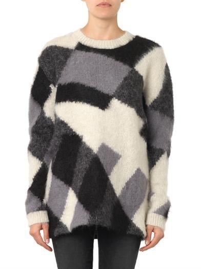 McQ Alexander McQueen Patchwork-knit mohair-blend sweater