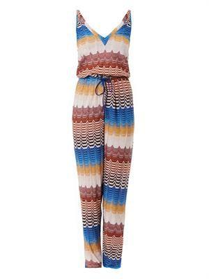 Metallic chevron-knit jumpsuit