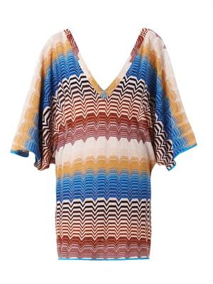 Metallic chevron-knit dress