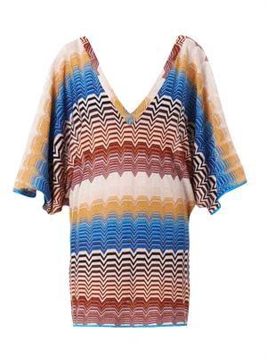 Metallic chevron-knit dress