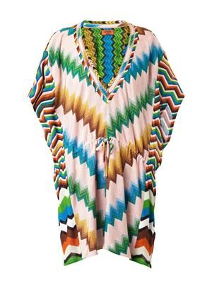 Chevron multi-knit kaftan