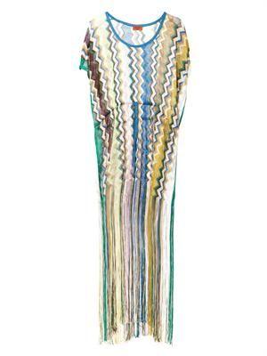 Zigzag-knit tasselled kaftan