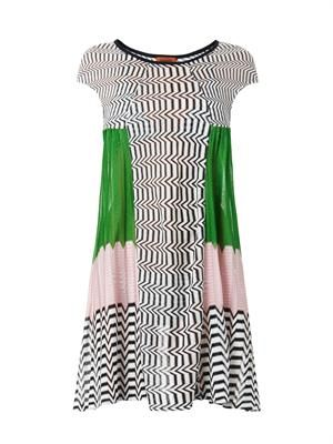 Chevron and colour-block knit dress