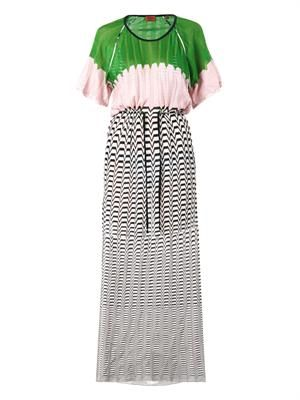 Chevron and colour-block knit maxi dress