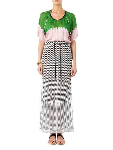 Missoni Mare Chevron and colour-block knit maxi dress