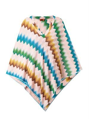 Chevron-knit metallic poncho