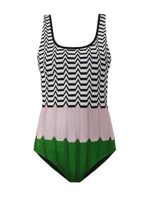 Colour-block crochet-knit swimsuit