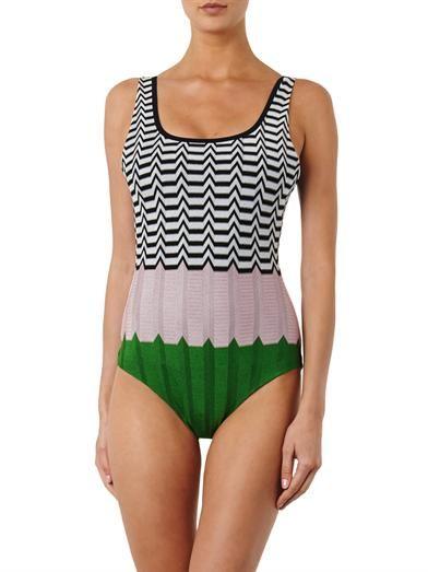 Missoni Mare Colour-block crochet-knit swimsuit