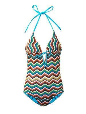Zigzag knit swimsuit