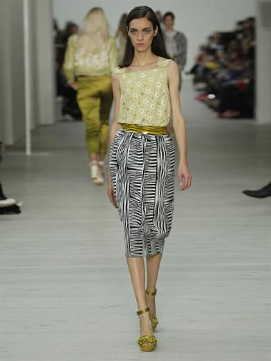 Matthew Williamson Patchwork Ikat weave pencil skirt